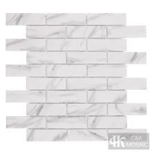 Impressão de azulejo de parede de metrô em mosaico de vidro branco