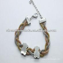 Brand New ursos amor ouro pulseiras de aço barato charme