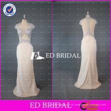 ED Bridal Sexy Sparkl bainha luva de luva ver através Bodice mulheres vestido de noite 2017