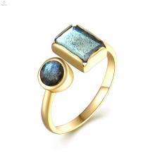 18K Gold S925 Sterling Silver Rectangle Gemstone Cuff Natural Labradorite Ring