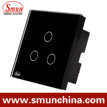 Interruptor da parede do toque de 3 bocais do grupo, soquete de parede de controle remoto 1500W 110-220V 16A