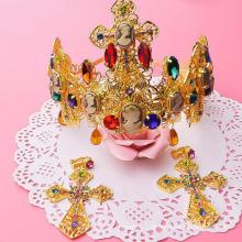 Alta qualidade noiva desmamar tiara moda encanto 24k ouro coroa e tiaras