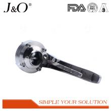 Válvula de borboleta sanitária de aço inoxidável da solda com punho do S