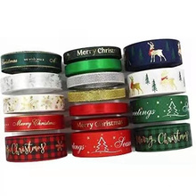 WY401 Wholesale printed colorful merry Christmas satin ribbon roll
