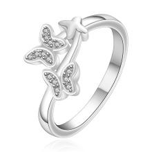 Diamond Silver Ring Silver Plated Zircon Butterfly Shape Women Ring