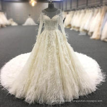2018 vestido de noiva de luxo vestido de noiva de cristal a linha de vestido de noiva com pele