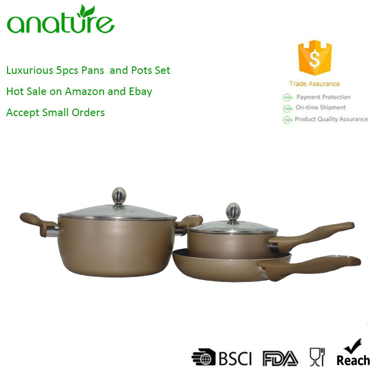Luxury 5pcs Pressed Aluminum Nonstick Cookware Set