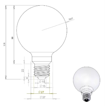 Filament LED Bulb 360 Degree G80