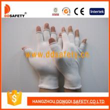 13 Gauge White Nylon Half Finger Anti Static Gloves Dch122