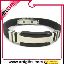 China factory supply cheap high quality fashion silicone bracelets with stainless steel clasp