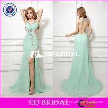 JYZ66 Wholesaler Price Sheath Halter Crystals Beaded High Slit Sexy Evening Dress