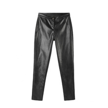 High Quality Women Clothing New Design Stretch Mid Waist Black Plus Size Leather Pants With Button