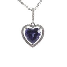 Colgante de piedra púrpura de amatista con corazón de amor plateado