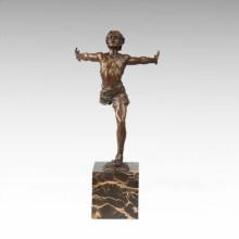 Sports Figure Statue Run Player Bronze Sculpture TPE-711
