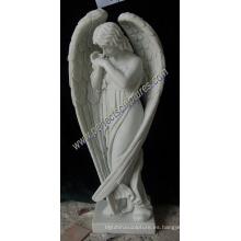 Estatua de mármol del ángel del granito para el cementerio Lápida del monumento de la lápida mortuoria (SY-X1539)