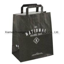 Custom Printed Flat Handle Takeaway Kraft Paper Bag