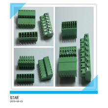 Pino ajustável do ângulo 7 de 3.5mm / tipo tipo conectável verde conector do bloco terminal de parafuso