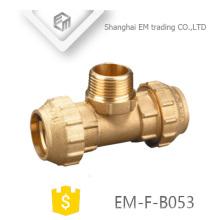 EM-F-B053 Espagne Té double connexion de compression et filetage mâle raccord laiton Raccord de tuyau