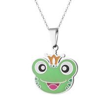 Stainless Steel Cute Enamel Frog Charm Pendant Custom Necklace Jewelry