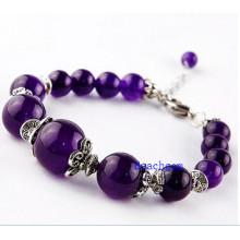 Naturelles perles améthyste Bracelet avec breloque, pendentif argent (BRG0053)