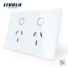 Prise de courant à distance Livolo Australia avec panneau en verre blanc / noir VL-C9C2AUR-11/12