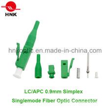 LC APC 0.9mm Simplex Singlemode Fibra Óptica Conector