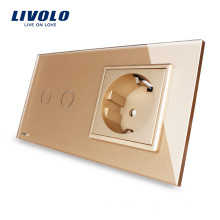 Livolo 2 Gang Touch Screen Switch с индикаторной лампой и стандартной электрической розеткой ЕС 16А