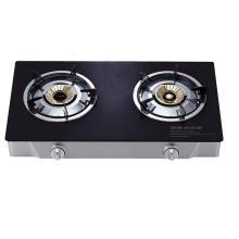 Estufa de gas de 2 hornillas con el vidrio templado negro