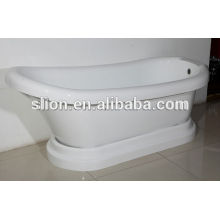Chinese hot acrylic white discount freestanding oval bathtub with detachable plinth