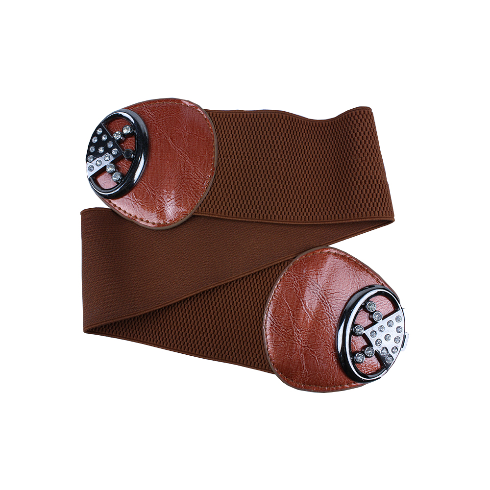 Brown Elastic Women Leather Belt without Buckle