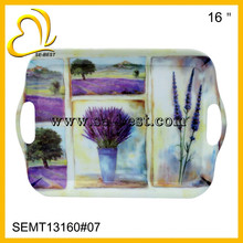 FDA standard melamine serving tray with handle