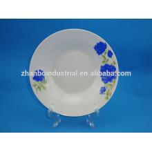 blue flower porcelain decal deep dinner plate