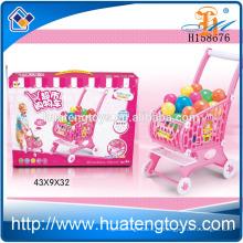 Новый продукт Дети пластиковые супермаркет Покупки игрушка Покупки тележки игрушка с мячом H158676