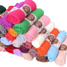 High quality multicolor long style muslim women scarf solid plain hijab scarf dubai