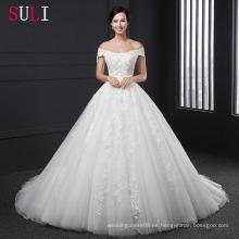 Z-004 Appliques vestido de bola rebordear vestido de boda de encaje de cremallera