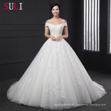 Z-004 Appliques Ball Gown Beading Zipper Lace Wedding Dress
