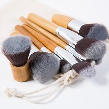 11PCS Профессиональный набор кистей для макияжа с бамбуковой ручкой