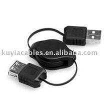 Noir NOUVEAU USB 2.0 Un mâle à une extension femelle Câble rétractable AM TO AF