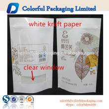 El papel que se puede volver a sellar del bolso de papel de Kraft blanco se coloca el empaquetado de los alimentos