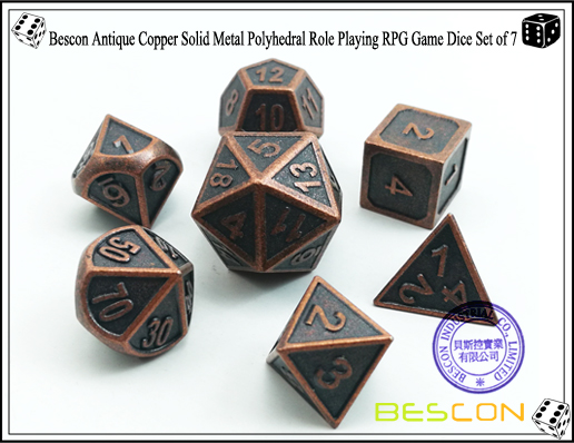Bescon New Style Antique Copper Solid Metal Polyhedral Role Playing RPG Game Dice Set (7 Die in Pack)-1