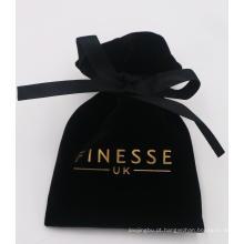 bolsa personalizada de veludo para joias estampada para presente