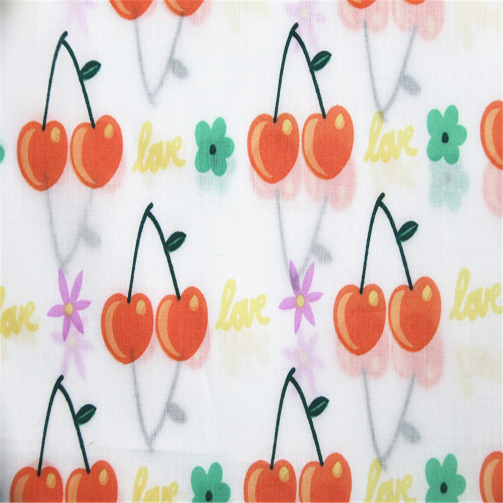 Cherry Printed Cotton Poplin Fabric