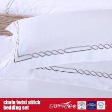 Juego de ropa de cama de punto de giro de cadena Ropa de cama de hotel de diseño clásico