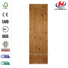 24 in. x 80 in. 2-Panel Arch Top Unfinished V-Grooved Solid Core Knotty Alder Single Prehung Interior Door