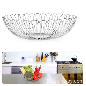Round Countertop Fruit Bowl Basket Holder Stand for Bread Snacks Fruit Vegetable Modern Home Kitchen Basket