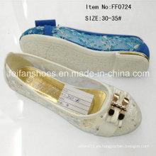 Caliente venta niños princesa zapatos zapatos planos zapatilla (ff0724)