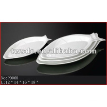 Hotel utensils white porcelain fish plate (No.P0068)