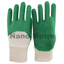 NMSAFETY green latex coating cotton liner latex coated gloves/working glove/safety glove
