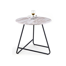 Modern Round Metal Base Marble Top Side Table Coffee Tea Table