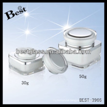 30g rectangular acrylic face cream jar,pmma,abs,as, empty face cream cans with round cap, 50g acrylic cookie jars